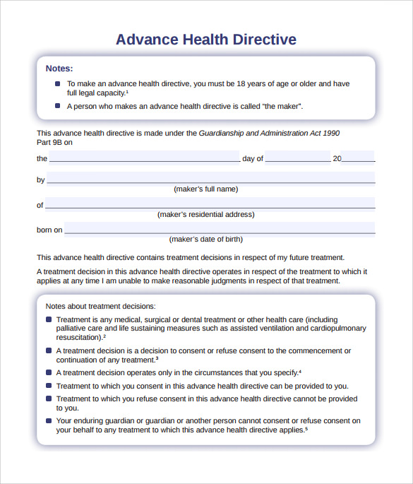 Advance Directive Form   Download Free Documents In Pdf