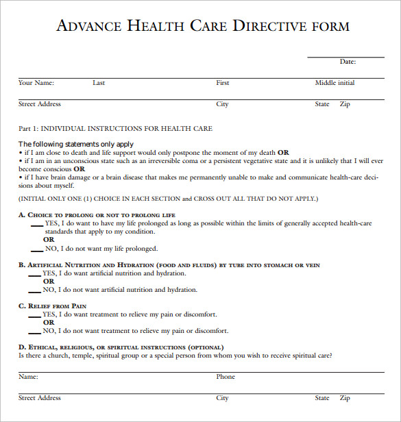 advance care directive template - 10 sample advance directive forms to download sample
