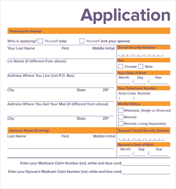 Medicare Application Forms   Documents Free Download In Pdf