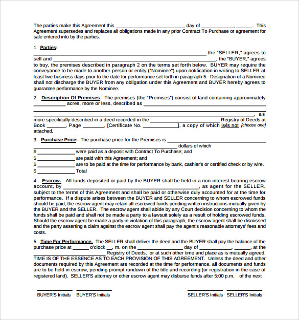 Land Purchase Agreement Template   Download Free Documents In Pdf
