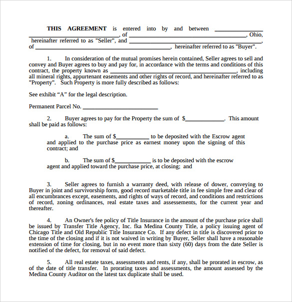 Purchase Agreement For Vacant Land  Free Purchase Agreement Form