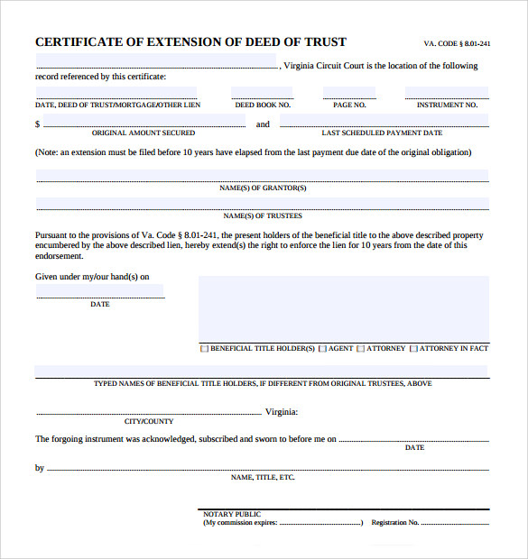 Deed Of Trust Forms   Documents Free Download In Pdf Word