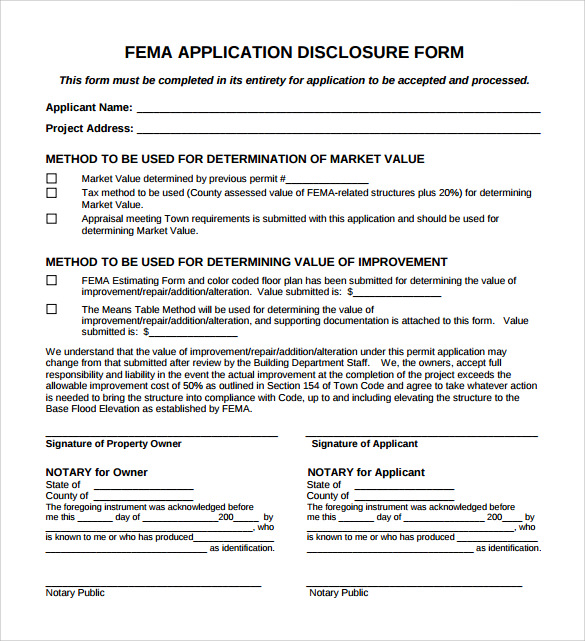 Fema Application Form   Download Free Documents In Pdf