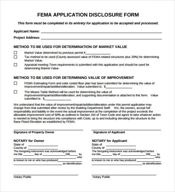fema application form pdf