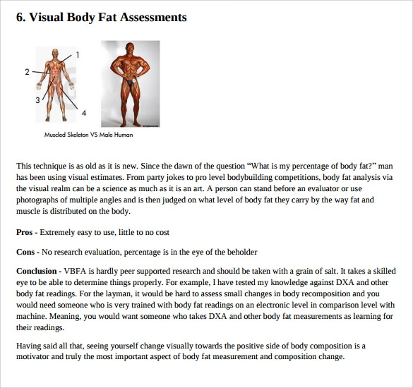 Sample Body Fat Percentage Chart Template   Free Documents In Pdf