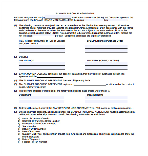 Blanket Purchase Agreement Templates 8 Download Free Documents – Purchase Agreement Template