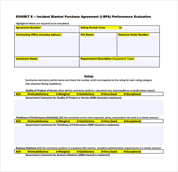 Blanket Purchase Agreement Templates   Download Free Documents