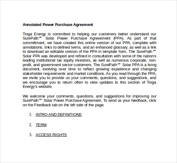 Power Purchase Agreement To Download Sample Templates - Power purchase agreement template