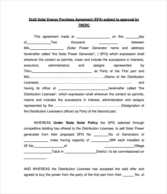 8 Power Purchase Agreement To Download Sample Templates