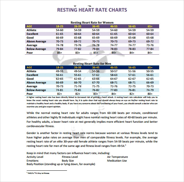 sample heart rate chart template