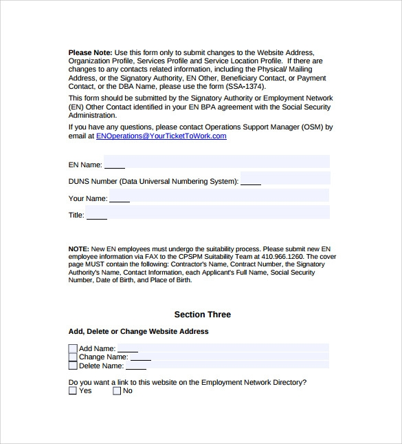 blanket purchase agreement change form