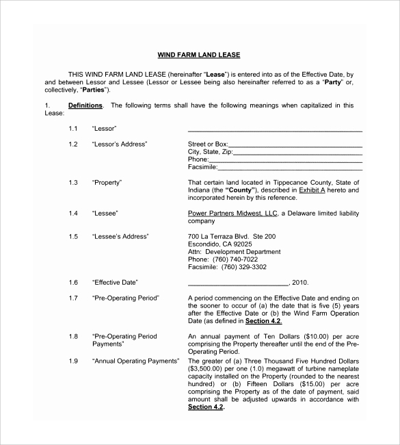 Farm land lease agreement form bing images for Farm rental agreement template
