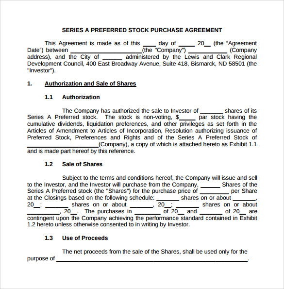 Doc518600 Purchase Agreement Template Purchase – Stock Purchase Agreement Template