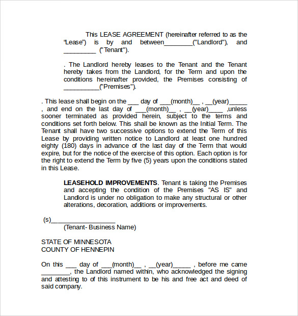 Commercial Lease Agreement   Free Samples  Examples  Format