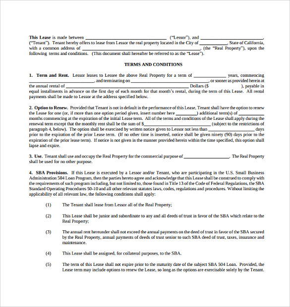Commercial Lease Agreement 8 Free Samples Examples Format – Sample Commercial Lease Agreement Template