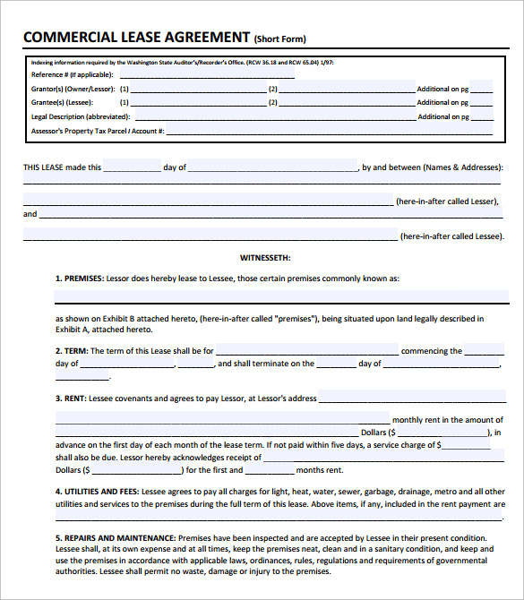 Commercial Lease Short Form  Commercial Lease Agreement Template Free