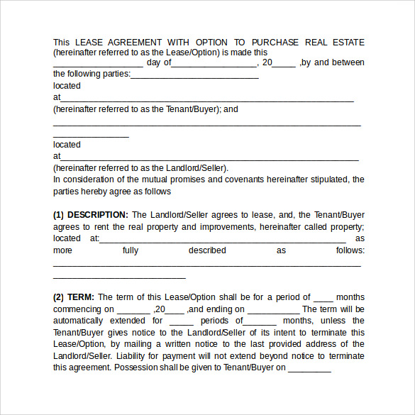 Sample Lease Purchase Agreement Rpa Ca Residential Purchase
