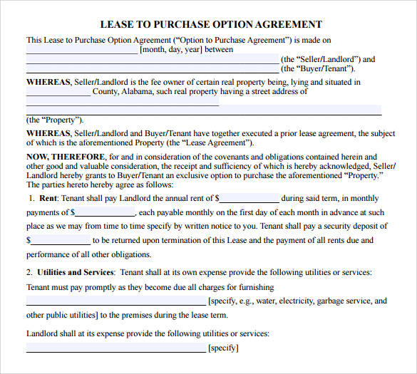9 lease purchase agreements free sample example format for Rent to buy contract template