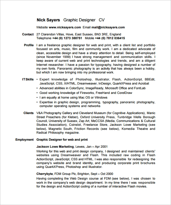 freelance designer resume