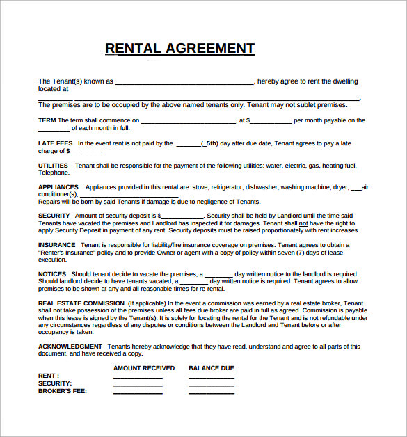 Rental Lease Agreement 5 Free Samples Examples Format – Sample House Lease Agreement Example