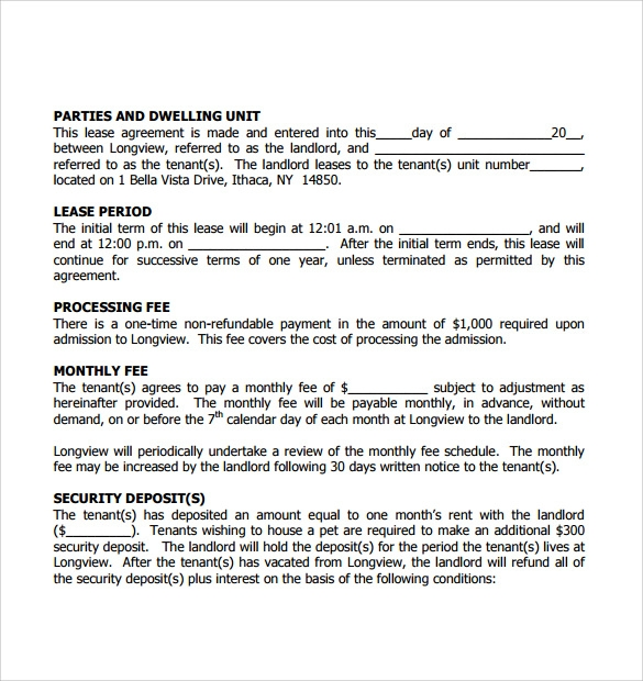 apartment lease agreement templates 9 free samples examples