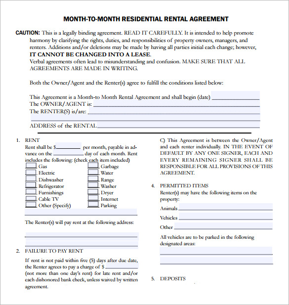 sample example rental lease agreement template