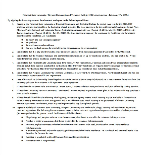 Apartment Lease Agreement Templates 9 Free Samples