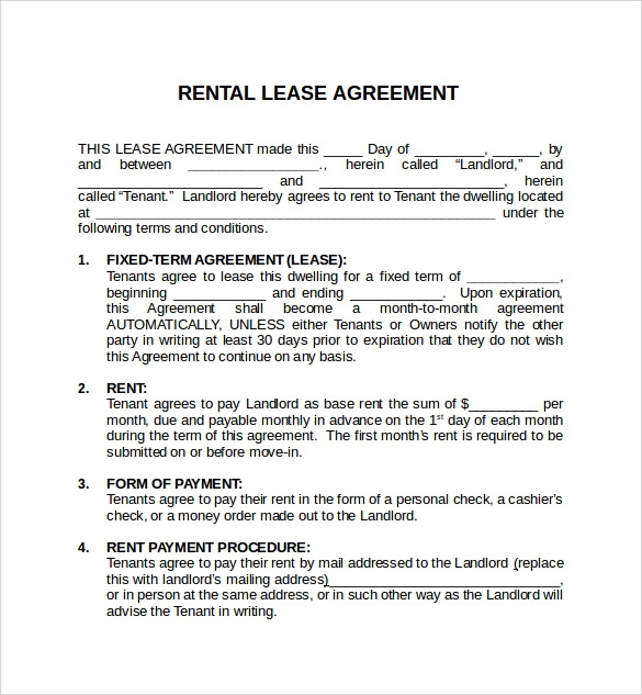 6 Rental Lease Agreement Free Samples Examples Format