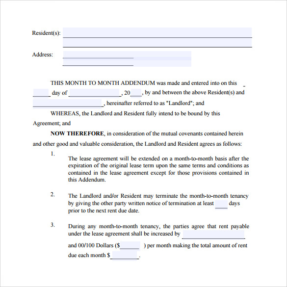 Month To Month Lease Agreement Templates   Samples  Examples