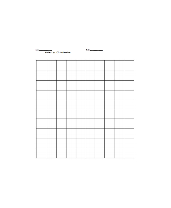 hundreds chart worksheets template