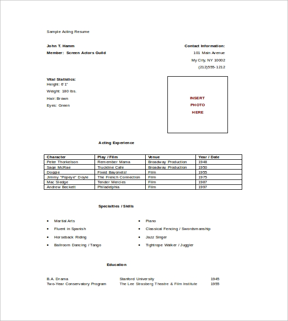 resume template microsoft office word 2003 elegant 2007 actor free federal download