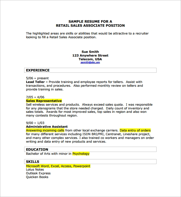 Sample Sales Associate Resume   Free Documents In Pdf Doc