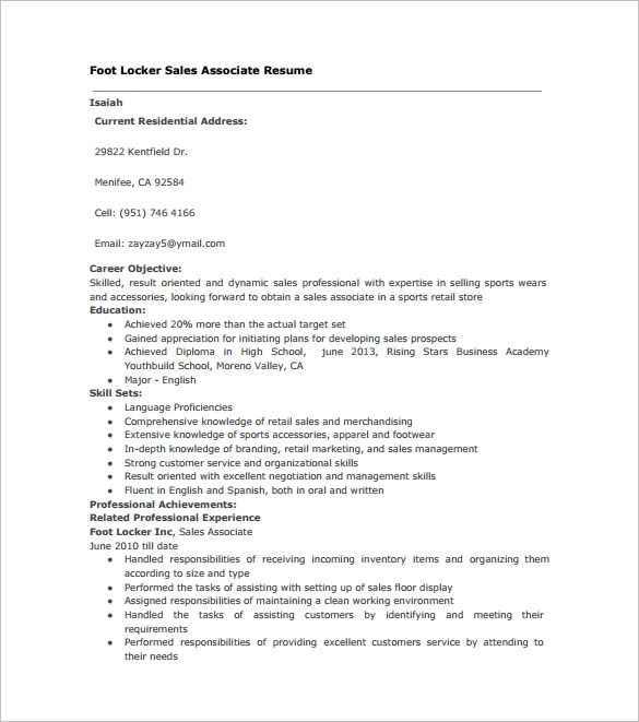 9  sales associate resumes  u2013 samples  examples  u0026 format