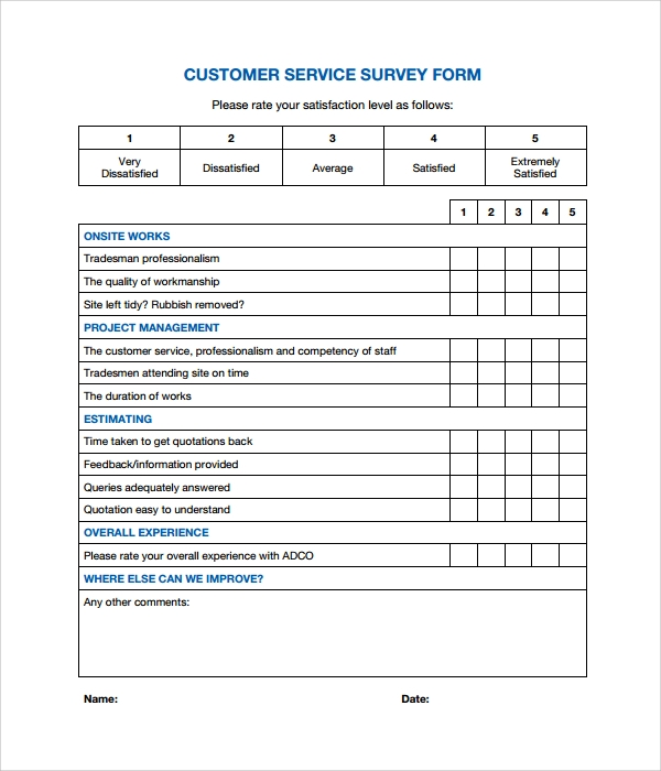 Sample Customer Survey 6 Documents In Pdf Word