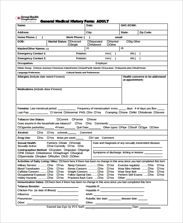 sample health history form 15  Medical History Forms | Sample Templates