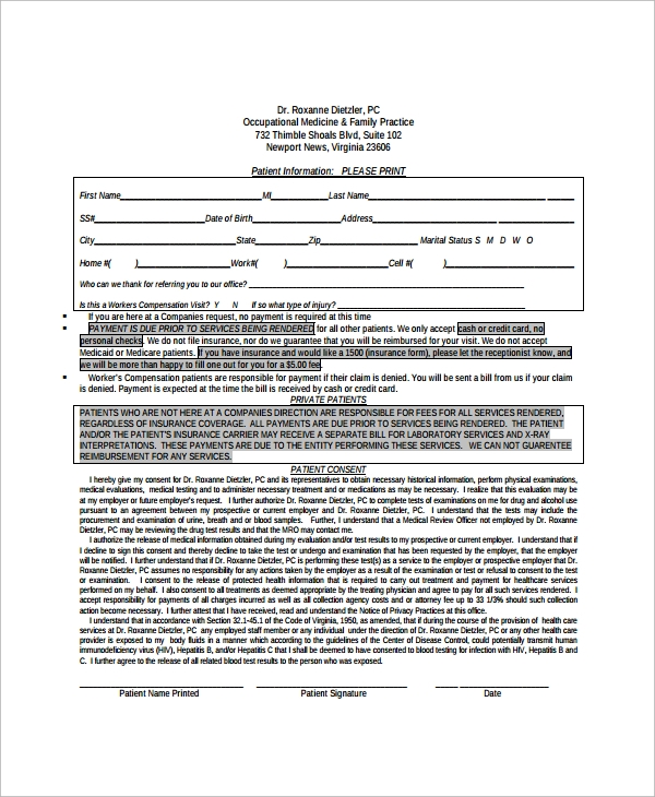 14 medical history forms free sample example format