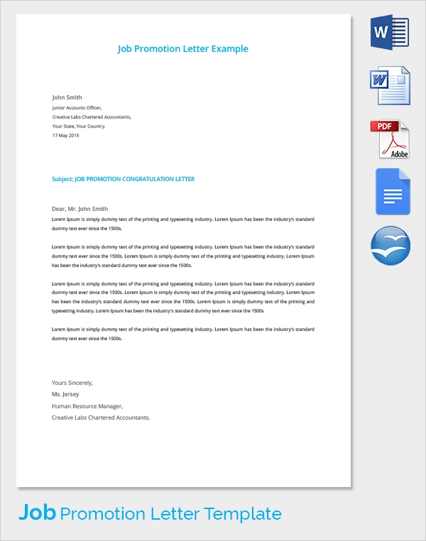 job promotion letter template