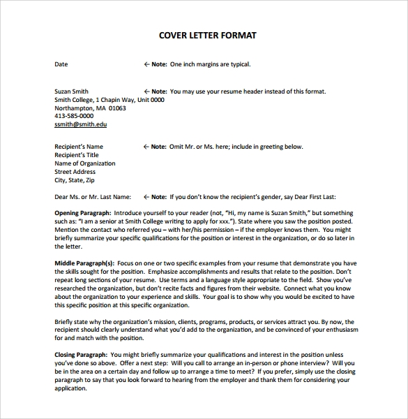 resume cover letter template format - Resume Cover Letters Templates