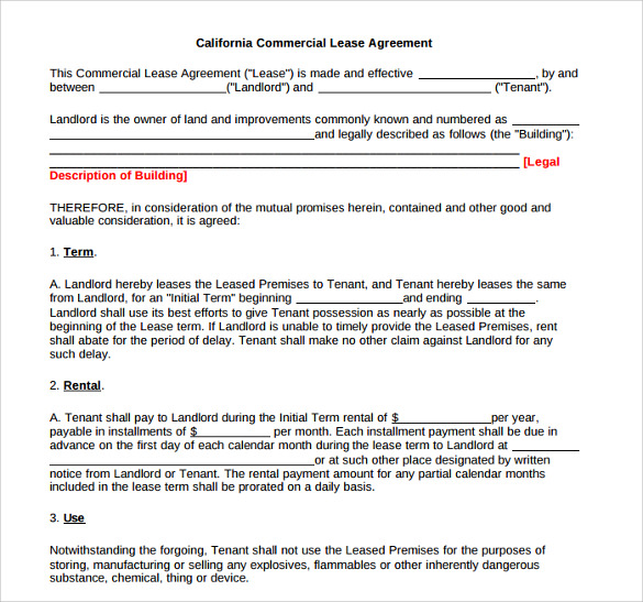 Standard Lease Agreement Templates   Samples  Examples  Format
