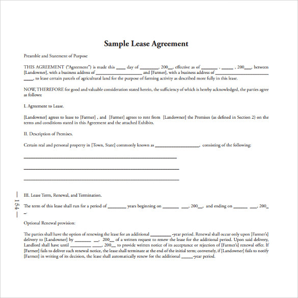 Standard Lease Agreement Templates - 8+ Samples , Examples & Format