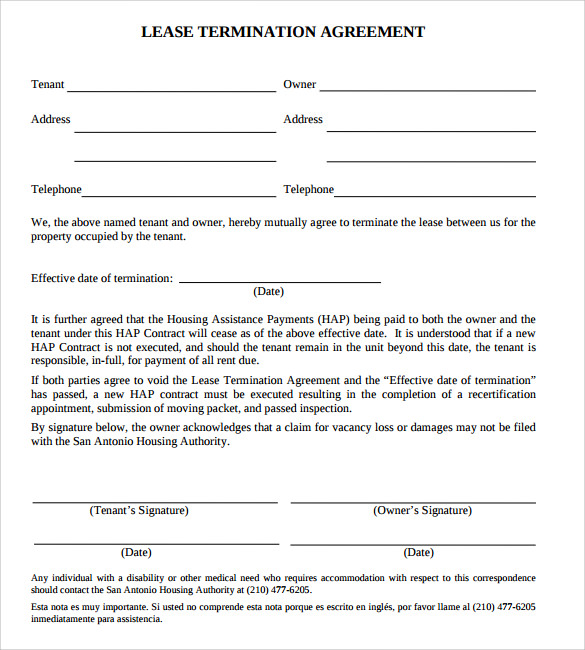 Attirant Agreement Of Lease Termination