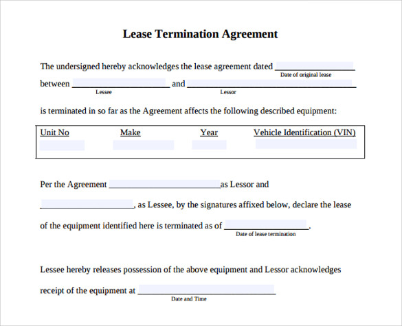 Lease Termination Agreement   Samples  Examples  Format