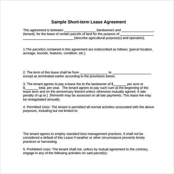 8 Land Lease Agreement Templates Free Sample Example Format – Sample Land Lease Agreement Templates