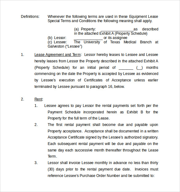 University Equipment Lease Agreement Template