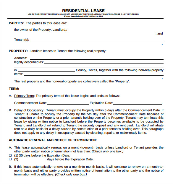 Residential Lease Agreement   Free Samples Examples  Format