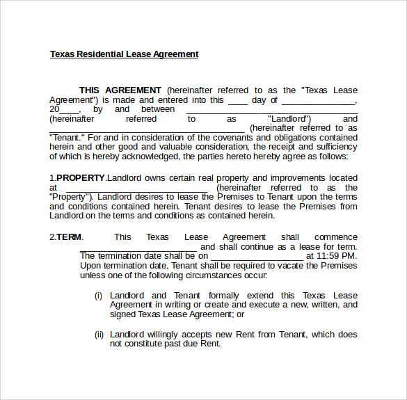Texas Lease Agreement   Samples Examples Format