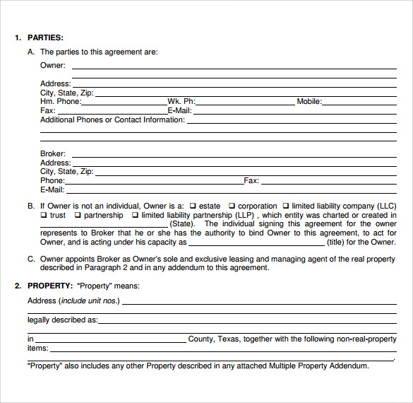 Texas Lease Agreement 7 Samples Examples Format