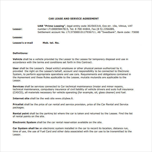 Car Lease Agreement Templates 8 Samples Examples Format – Car Lease Contract Template
