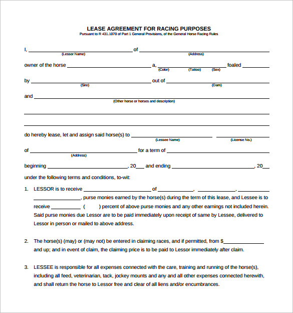 10+ Horse Lease Agreement Templates | Sample Templates