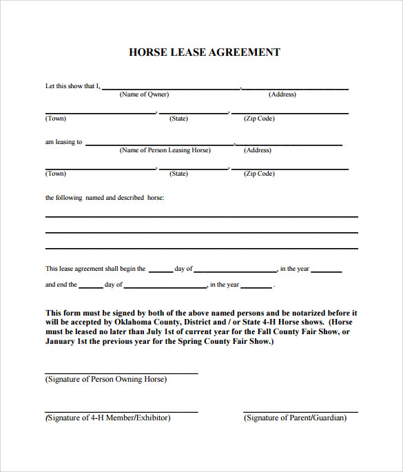 horse lease agreement template example